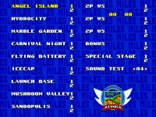 Sonic the Hedgehog 3 - LEVEL SELECT!!!!!!!!! - User Screenshot